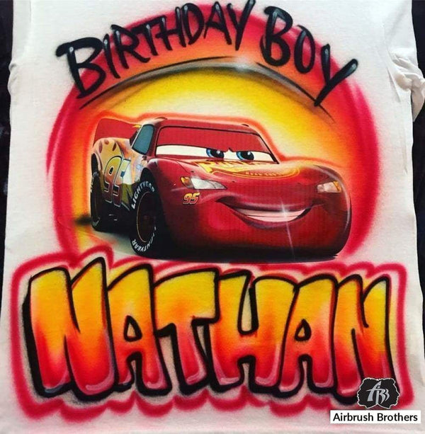 airbrush custom spray paint  Airbrush Lightning McQueen Shirt Design shirts hats shoes outfit  graffiti 90s 80s design t-shirts  Airbrush Brothers Shirt