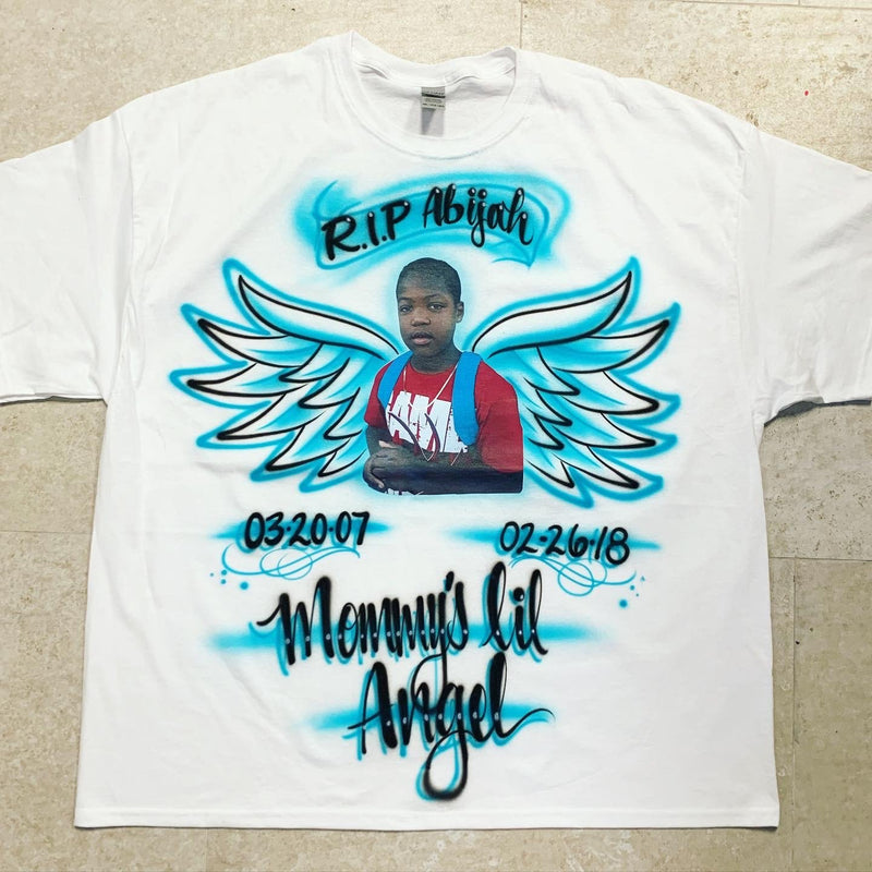 airbrush custom spray paint  Airbrush Little Angel Design shirts hats shoes outfit  graffiti 90s 80s design t-shirts  Airbrush Brothers Shirt