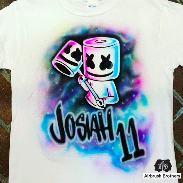 airbrush custom spray paint  Airbrush Marshmello Birthday Shirt Design shirts hats shoes outfit  graffiti 90s 80s design t-shirts  Airbrush Brothers Shirt