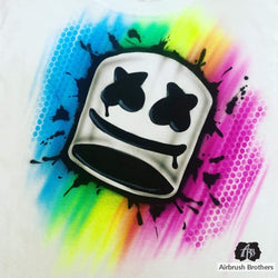 airbrush custom spray paint  Airbrush Marshmello Shirt Design shirts hats shoes outfit  graffiti 90s 80s design t-shirts  Airbrush Brothers Shirt