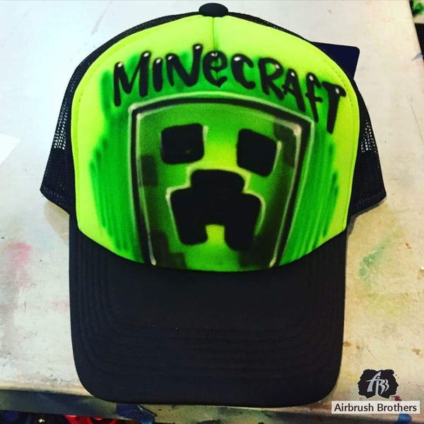 airbrush custom spray paint  Airbrush Minecraft Hat Design shirts hats shoes outfit  graffiti 90s 80s design t-shirts  AirbrushBrothers Hats