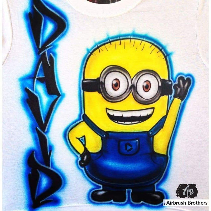 airbrush custom spray paint  Airbrush Minions Cartoon Design shirts hats shoes outfit  graffiti 90s 80s design t-shirts  AirbrushBrothers Shirt