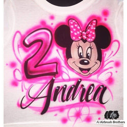 airbrush custom spray paint  Airbrush Minnie Mouse Birthday Design shirts hats shoes outfit  graffiti 90s 80s design t-shirts  AirbrushBrothers Shirt