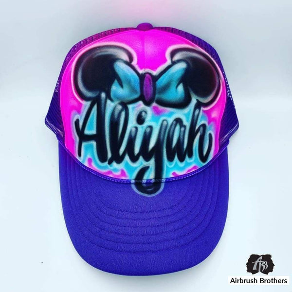 airbrush custom spray paint  AIrbrush Minnie Mouse Ears Hat Design shirts hats shoes outfit  graffiti 90s 80s design t-shirts  Airbrush Brothers Hats