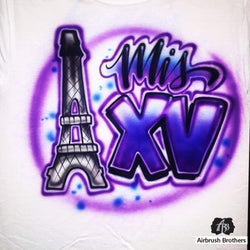airbrush custom spray paint  Airbrush Mis Quince Eiffel Tower Design shirts hats shoes outfit  graffiti 90s 80s design t-shirts  AirbrushBrothers Shirt