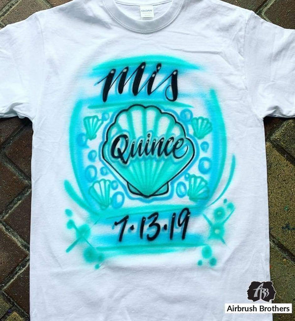 airbrush custom spray paint  Airbrush Mis Quince Under The Sea Design shirts hats shoes outfit  graffiti 90s 80s design t-shirts  AirbrushBrothers Shirt