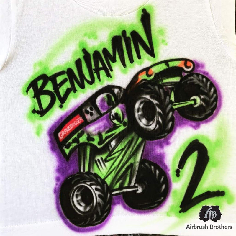 airbrush custom spray paint  Airbrush Monster Truck Birthday Design shirts hats shoes outfit  graffiti 90s 80s design t-shirts  AirbrushBrothers Shirt