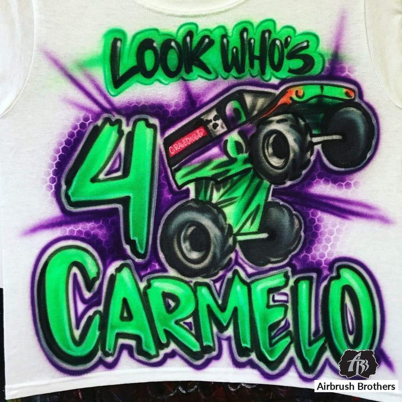 airbrush custom spray paint  Airbrush Monster Truck Block Shirt Design shirts hats shoes outfit  graffiti 90s 80s design t-shirts  Airbrush Brothers Shirt