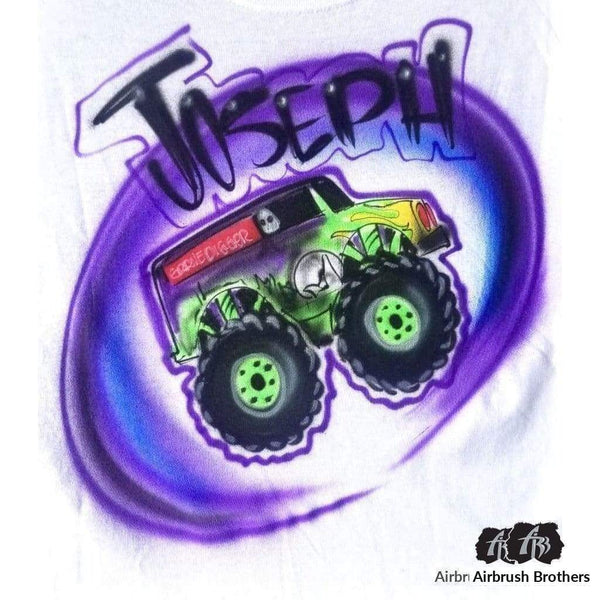 airbrush custom spray paint  Airbrush Monster Truck Graffiti Shirt Design shirts hats shoes outfit  graffiti 90s 80s design t-shirts  Airbrush Brothers Shirt