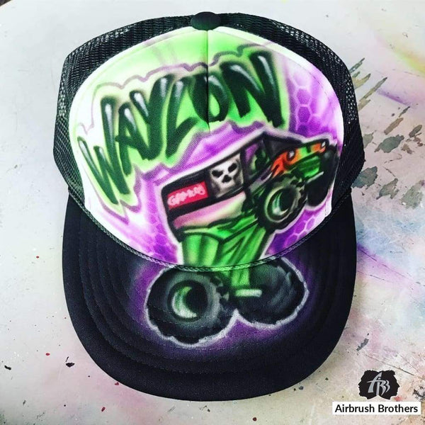 airbrush custom spray paint  Airbrush Monster Truck Hat Grave Digger Design shirts hats shoes outfit  graffiti 90s 80s design t-shirts  AirbrushBrothers Hats