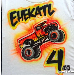 airbrush custom spray paint  Airbrush Monster Truck Shirt Design shirts hats shoes outfit  graffiti 90s 80s design t-shirts  Airbrush Brothers Shirt