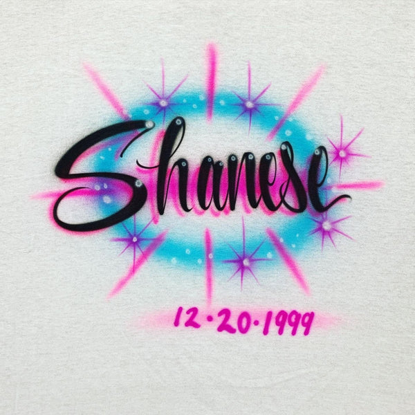 airbrush custom spray paint  Airbrush Name with Starbursts Shirt Design shirts hats shoes outfit  graffiti 90s 80s design t-shirts  Airbrush Brothers Shirt