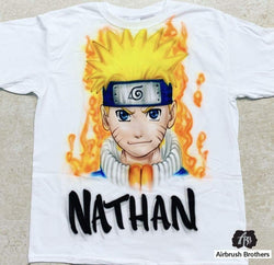airbrush custom spray paint  Airbrush Naruto Cartoon Design shirts hats shoes outfit  graffiti 90s 80s design t-shirts  Airbrush Brothers Shirt