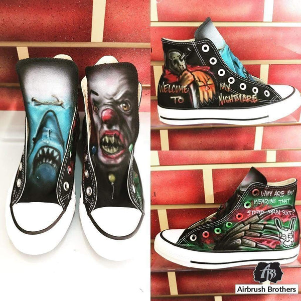 airbrush custom spray paint  Airbrush Nightmare Shoes shirts hats shoes outfit  graffiti 90s 80s design t-shirts  AirbrushBrothers shoes