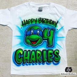 airbrush custom spray paint  Airbrush Ninja Turtle Birthday Design shirts hats shoes outfit  graffiti 90s 80s design t-shirts  Airbrush Brothers Shirt