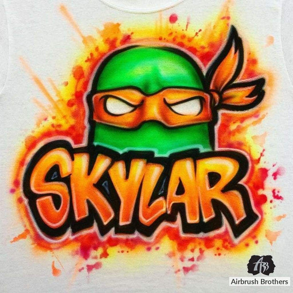 airbrush custom spray paint  Airbrush Ninja Turtle Shirt Design shirts hats shoes outfit  graffiti 90s 80s design t-shirts  AirbrushBrothers Shirt