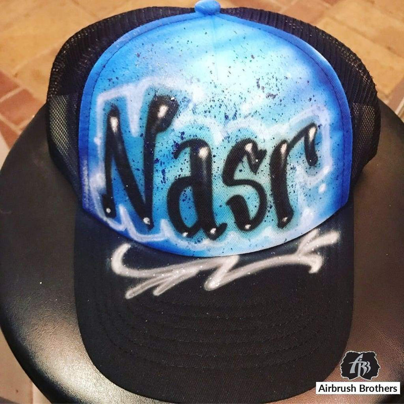 airbrush custom spray paint  Airbrush Paint Splatter With Name Hat Design shirts hats shoes outfit  graffiti 90s 80s design t-shirts  Airbrush Brothers Hats