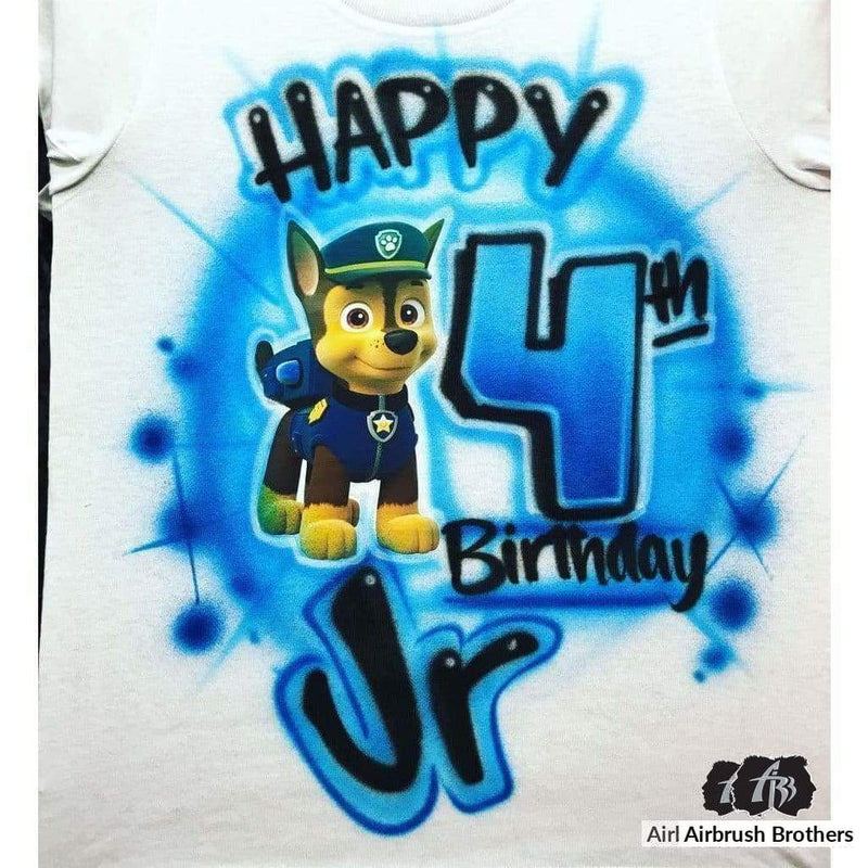 airbrush custom spray paint  Airbrush Paw Patrol-Chase Design shirts hats shoes outfit  graffiti 90s 80s design t-shirts  AirbrushBrothers Shirt