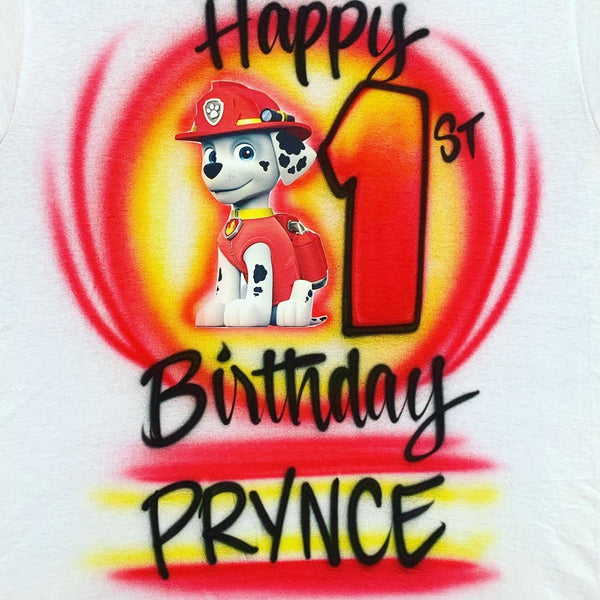 airbrush custom spray paint  Airbrush Paw Patrol - Marshall Birthday Design shirts hats shoes outfit  graffiti 90s 80s design t-shirts  Airbrush Brothers Shirt
