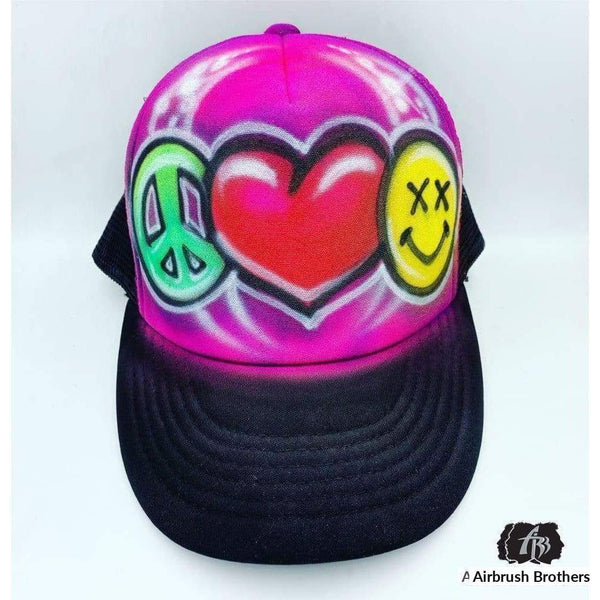 airbrush custom spray paint  Airbrush Peace Love Emoji Hat Design shirts hats shoes outfit  graffiti 90s 80s design t-shirts  Airbrush Brothers Hats
