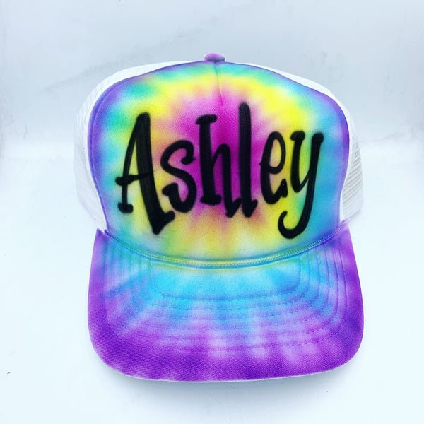 airbrush custom spray paint  Airbrush Purple Tie Dye Hat Design shirts hats shoes outfit  graffiti 90s 80s design t-shirts  Airbrush Brothers Hats