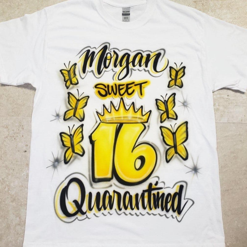 airbrush custom spray paint  Airbrush Quarantined Sweet 16 Shirt Design shirts hats shoes outfit  graffiti 90s 80s design t-shirts  Airbrush Brothers Shirt