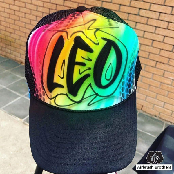 airbrush custom spray paint  Airbrush Rainbow Hat Design shirts hats shoes outfit  graffiti 90s 80s design t-shirts  Airbrush Brothers Hats