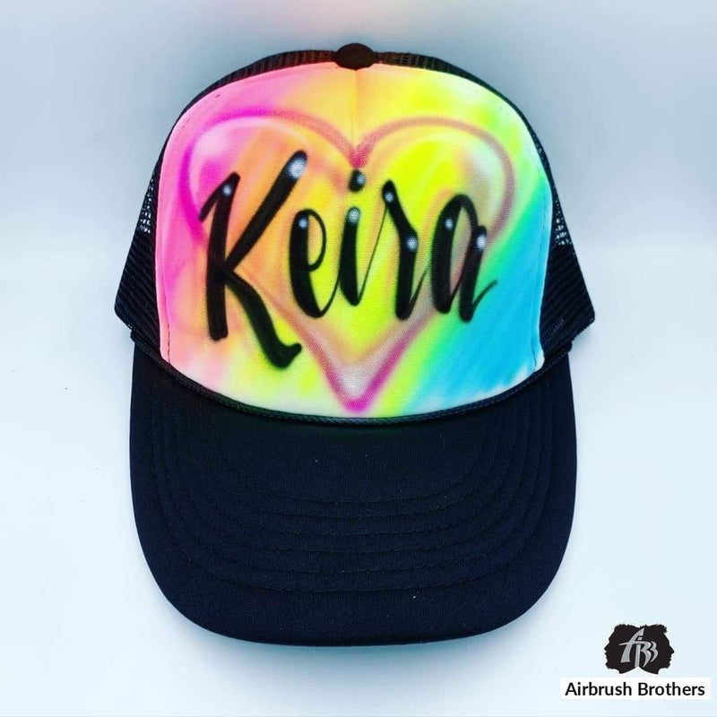 airbrush custom spray paint  Airbrush Rainbow With Heart Hat Design shirts hats shoes outfit  graffiti 90s 80s design t-shirts  Airbrush Brothers Hats
