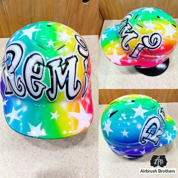 airbrush custom spray paint  Airbrush Rainbow with Stars Helmet Design shirts hats shoes outfit  graffiti 90s 80s design t-shirts  Airbrush Brothers helmet