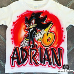 airbrush custom spray paint  Airbrush Shadow the Hedgehog Shirt Design shirts hats shoes outfit  graffiti 90s 80s design t-shirts  AirbrushBrothers Shirt