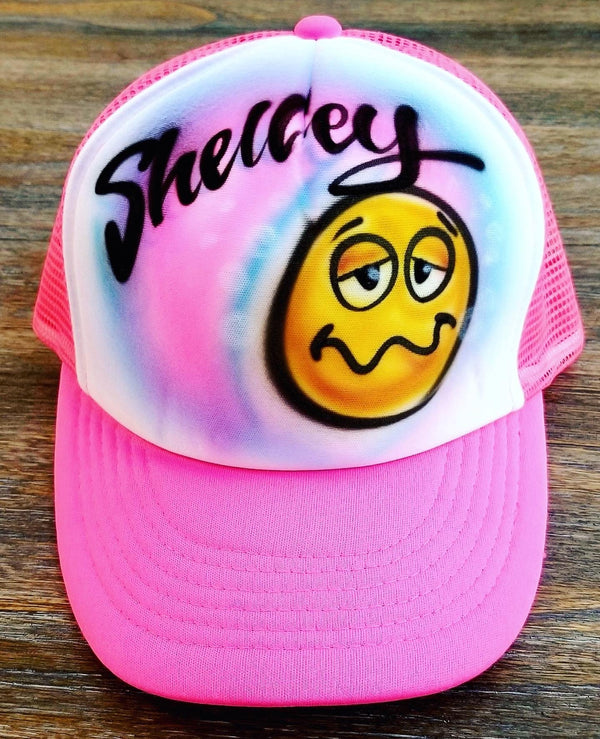 airbrush custom spray paint  Airbrush Silly Drunk Emoji Hat Design shirts hats shoes outfit  graffiti 90s 80s design t-shirts  Airbrush Brothers Hats