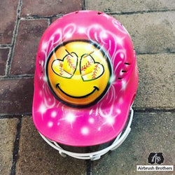 airbrush custom spray paint  Airbrush Softball Face Emoji Helmet Design shirts hats shoes outfit  graffiti 90s 80s design t-shirts  Airbrush Brothers helmet