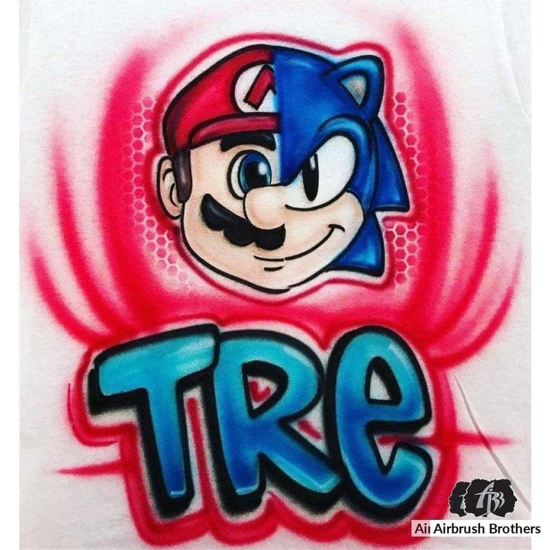 airbrush custom spray paint  Airbrush Sonic and Mario Shirt Design shirts hats shoes outfit  graffiti 90s 80s design t-shirts  AirbrushBrothers Shirt