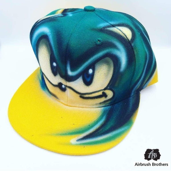 airbrush custom spray paint  Airbrush Sonic Hat Design shirts hats shoes outfit  graffiti 90s 80s design t-shirts  Airbrush Brothers Hats