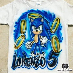 airbrush custom spray paint  Airbrush Sonic the Hedgehog Cartoon Design shirts hats shoes outfit  graffiti 90s 80s design t-shirts  Airbrush Brothers Shirt