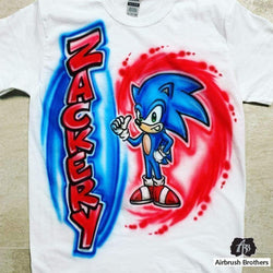airbrush custom spray paint  Airbrush Sonic the Hedgehog Design shirts hats shoes outfit  graffiti 90s 80s design t-shirts  Airbrush Brothers Shirt