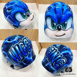 airbrush custom spray paint  Airbrush Sonic the Hedgehog Helmet Design shirts hats shoes outfit  graffiti 90s 80s design t-shirts  Airbrush Brothers helmet