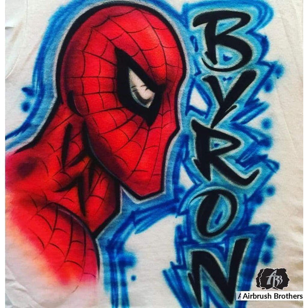 airbrush custom spray paint  Airbrush Spider Man Shirt Design shirts hats shoes outfit  graffiti 90s 80s design t-shirts  AirbrushBrothers Shirt
