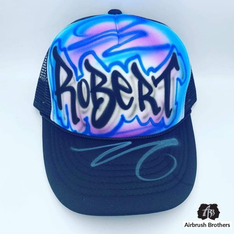 airbrush custom spray paint  Airbrush Street Tag Hat Design shirts hats shoes outfit  graffiti 90s 80s design t-shirts  Airbrush Brothers Hats