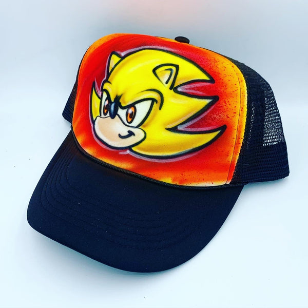 airbrush custom spray paint  Airbrush Super Sonic Hat Design shirts hats shoes outfit  graffiti 90s 80s design t-shirts  Airbrush Brothers Hats