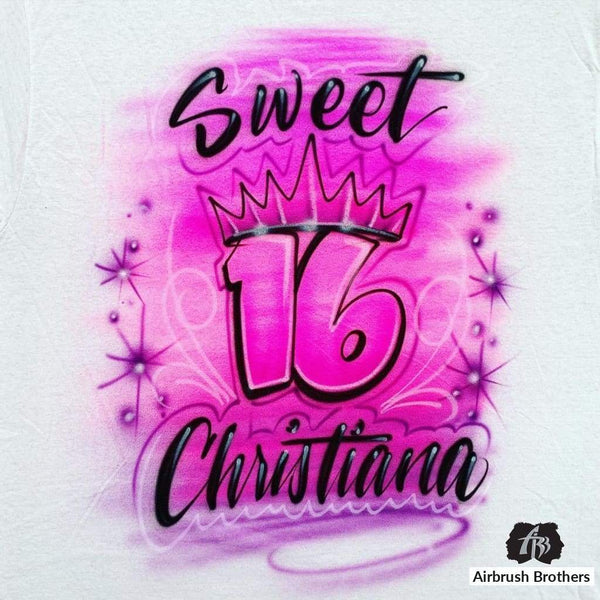 airbrush custom spray paint  Airbrush Sweet 16 Design shirts hats shoes outfit  graffiti 90s 80s design t-shirts  AirbrushBrothers Shirt