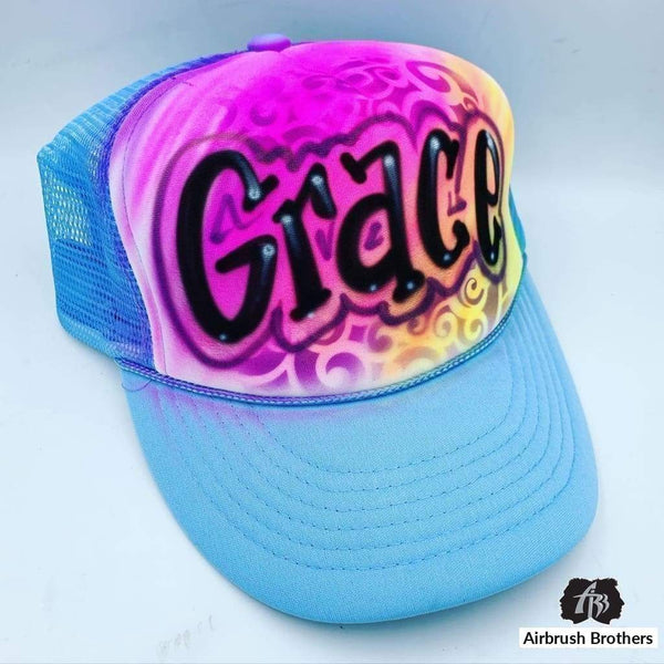 airbrush custom spray paint  Airbrush Swirly Hat Design shirts hats shoes outfit  graffiti 90s 80s design t-shirts  Airbrush Brothers Hats