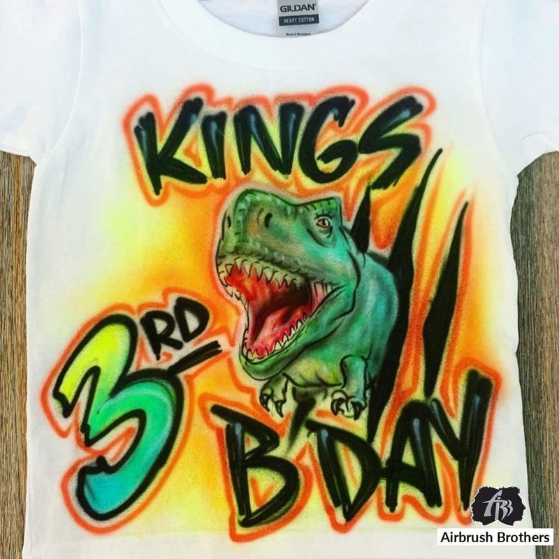 airbrush custom spray paint  Airbrush T-Rex Bday Shirt Design shirts hats shoes outfit  graffiti 90s 80s design t-shirts  Airbrush Brothers Shirt