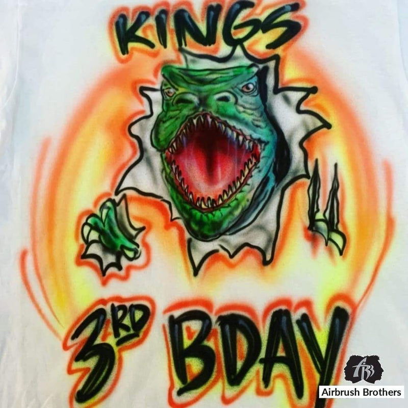 airbrush custom spray paint  Airbrush T-Rex Birthday Shirt Design shirts hats shoes outfit  graffiti 90s 80s design t-shirts  Airbrush Brothers Shirt