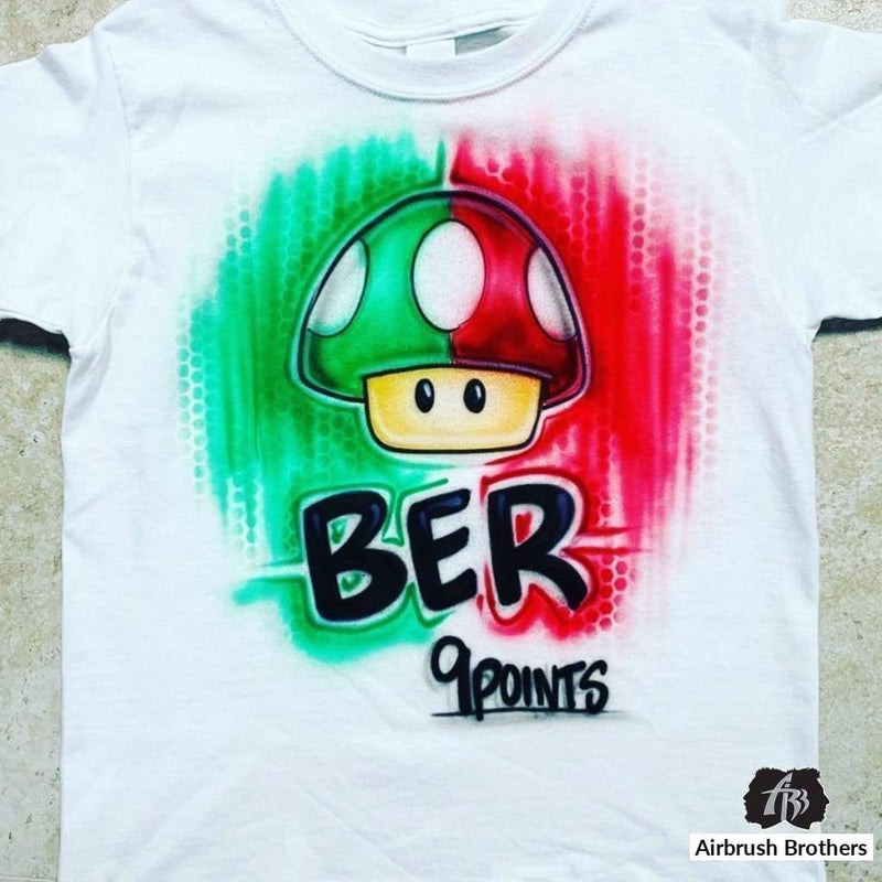 airbrush custom spray paint  Airbrush Toad Cartoon Design shirts hats shoes outfit  graffiti 90s 80s design t-shirts  Airbrush Brothers Shirt
