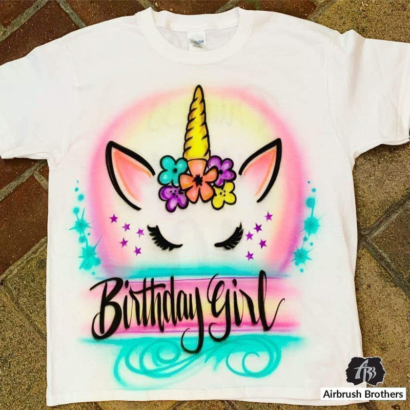 airbrush custom spray paint  Airbrush Unicorn Birthday Design shirts hats shoes outfit  graffiti 90s 80s design t-shirts  AirbrushBrothers Shirt