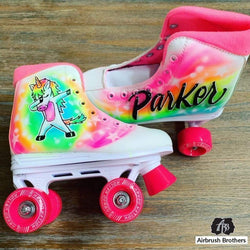 airbrush custom spray paint  Airbrush Unicorn Roller Skates Design shirts hats shoes outfit  graffiti 90s 80s design t-shirts  AirbrushBrothers shoes