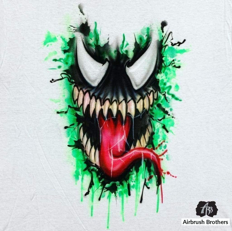 airbrush custom spray paint  Airbrush Venom Cartoon Design shirts hats shoes outfit  graffiti 90s 80s design t-shirts  AirbrushBrothers shirt