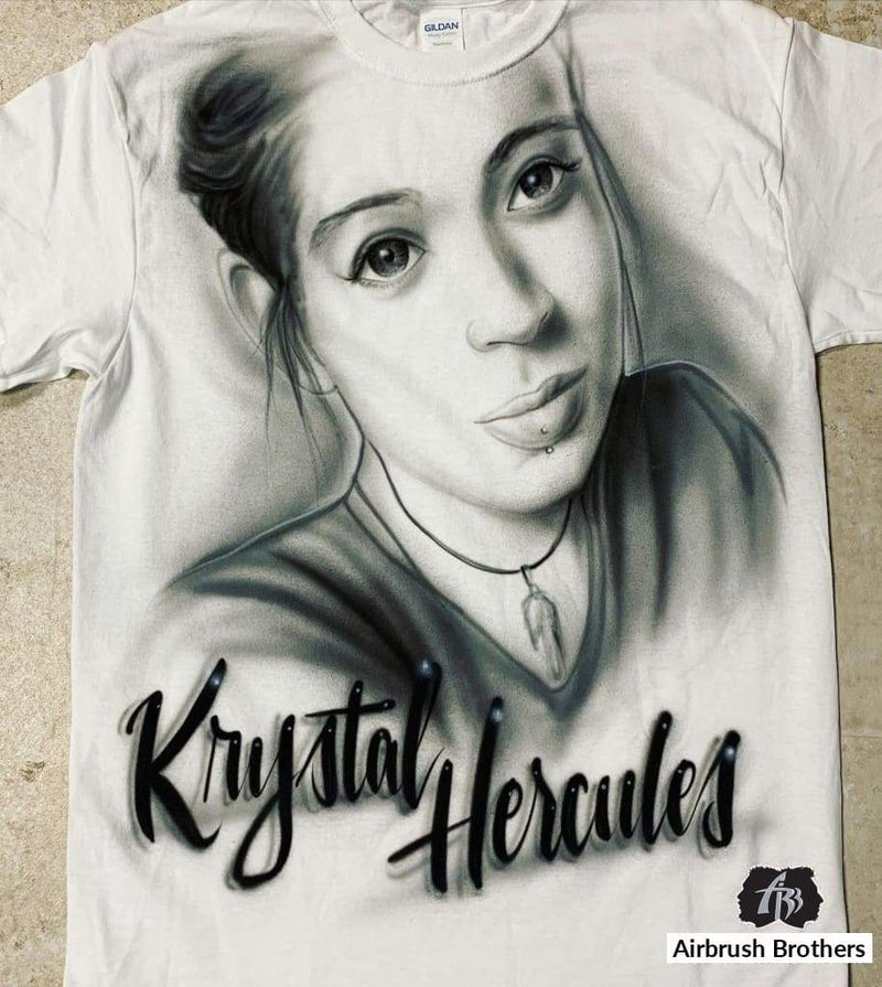 airbrush custom spray paint  Black/White Memorial Portrait Design A shirts hats shoes outfit  graffiti 90s 80s design t-shirts  AirbrushBrothers Shirt
