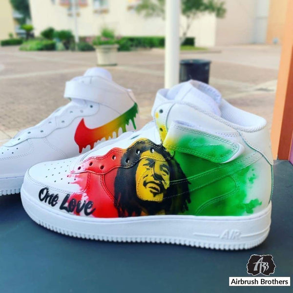 airbrush custom spray paint  Bob Marley Shoe Design shirts hats shoes outfit  graffiti 90s 80s design t-shirts  Airbrush Brothers shoes